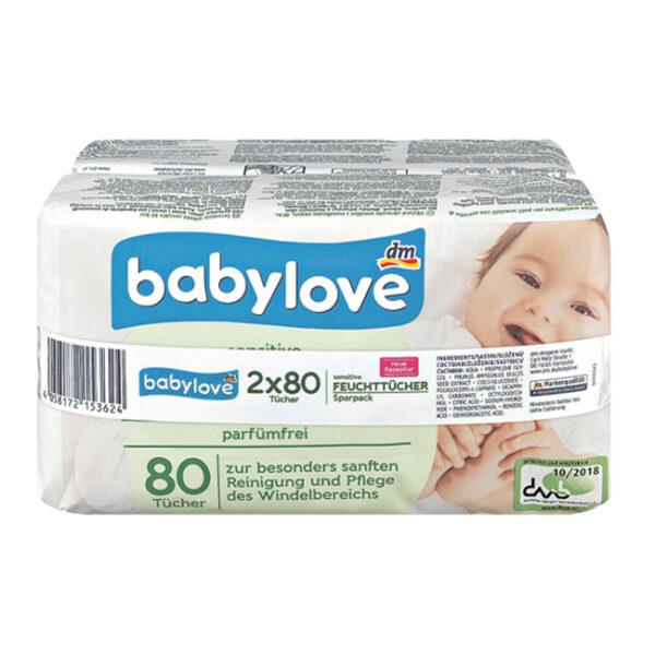 Babylove 2er-Pack Feuchttücher »sensitive