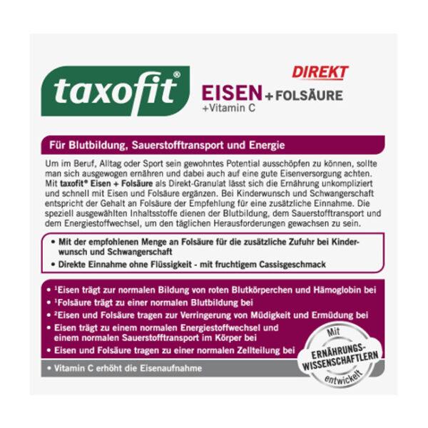 Eisen + Folsäure + Vitamin C direkt Granulat (20 Stück), 22 g