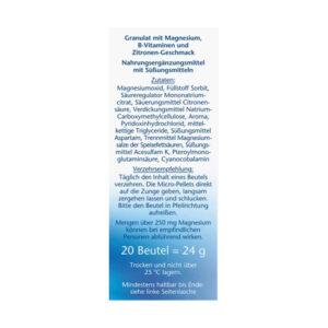 Magnesium 400 + Vitamine B6 + B12 + Folsäure Direktgranulat 20 St.