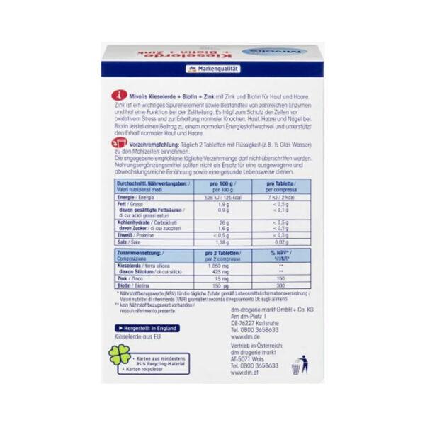 Kieselerde + Biotin + Zink, Tabletten 120 St., 148 g
