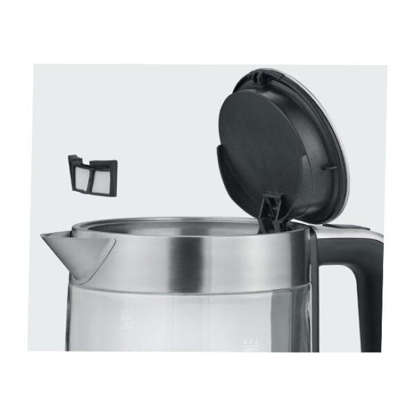 Severin WK 3420 Wasserkocher 1,7 l 2200 W Schwarz, Edelstahl, Transparent